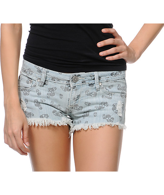 Almost Famous Blue Skull Print Cut Off Shorts