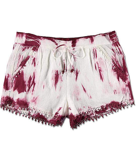 Almost Famous Burgundy & White Tie Dye Pom Trim Shorts