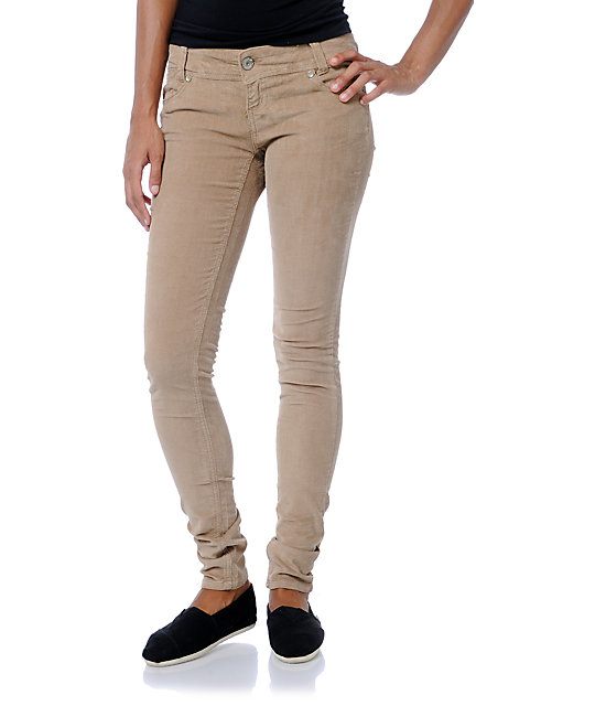 Almost Famous Camel Skinny Corduroy Pants
