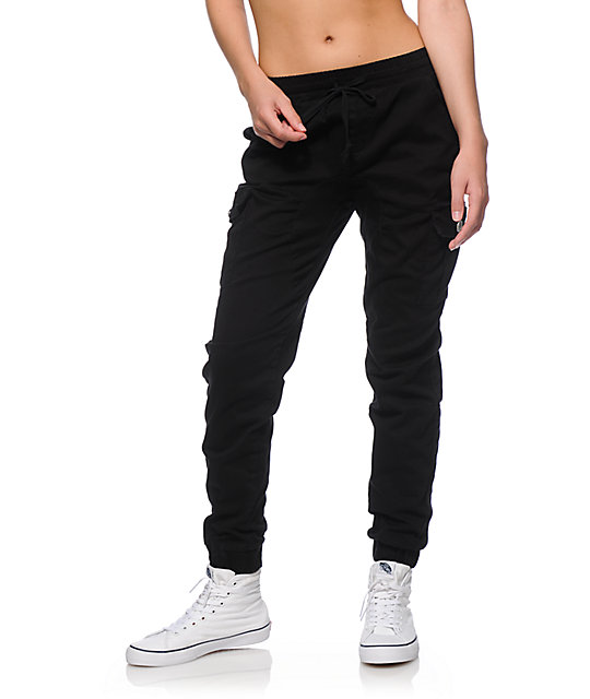 Perfect Steve Madden DistressedFleece Cargo Joggers For Women In Black Tea