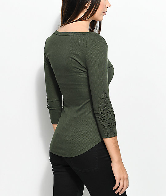 Almost Famous Caryn Crochet Olive Henley Top