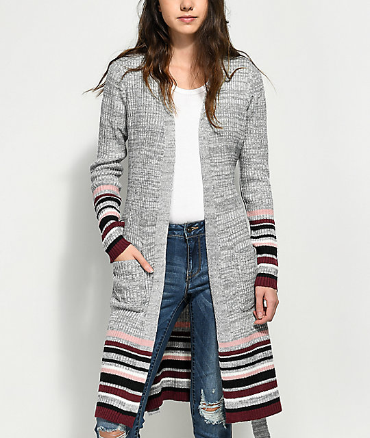 Almost Famous Cher White & Grey Tie Duster Cardigan | Zumiez