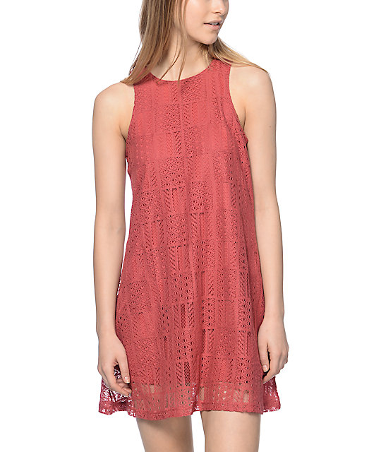 Almost Famous Crochet Sleeveless Coral Swing Dress