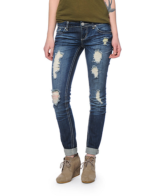 Almost Famous Dark Wash Destroyed Skinny Jeans - Famous Dark Wash Destroyed Skinny Jeans