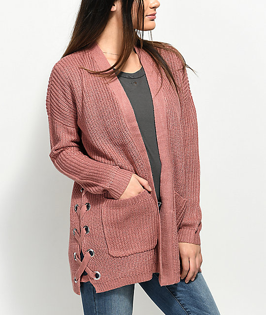 Almost Famous Effie Side Lace Pink Cardigan | Zumiez