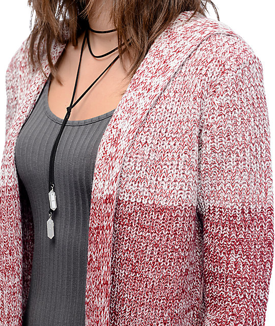 Almost Famous Eliza Striped Burgundy Cardigan