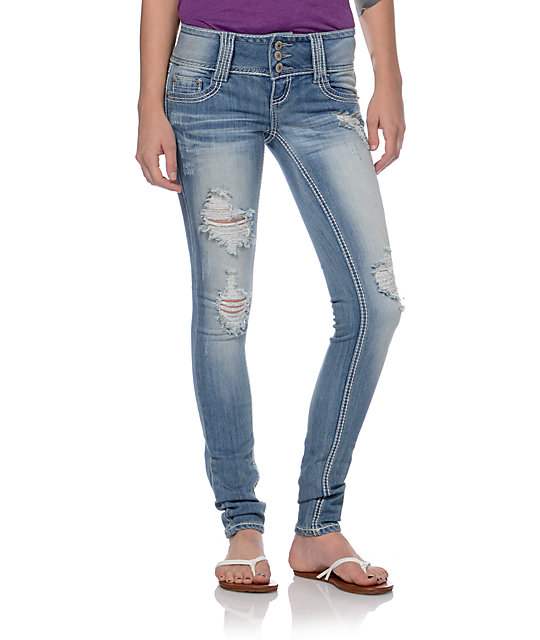 Almost Famous Ellie Light Wash Skinny Jeans