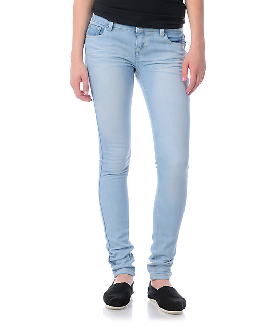 Almost Famous Harley Acid Wash Light Blue Skinny Jeans