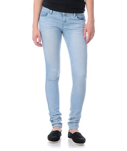 Almost Famous Harley Acid Wash Light Blue Skinny Jeans