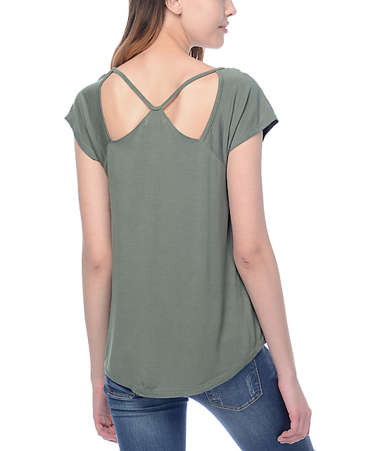 Almost Famous Haydee Shoulder Cut Out Olive Top