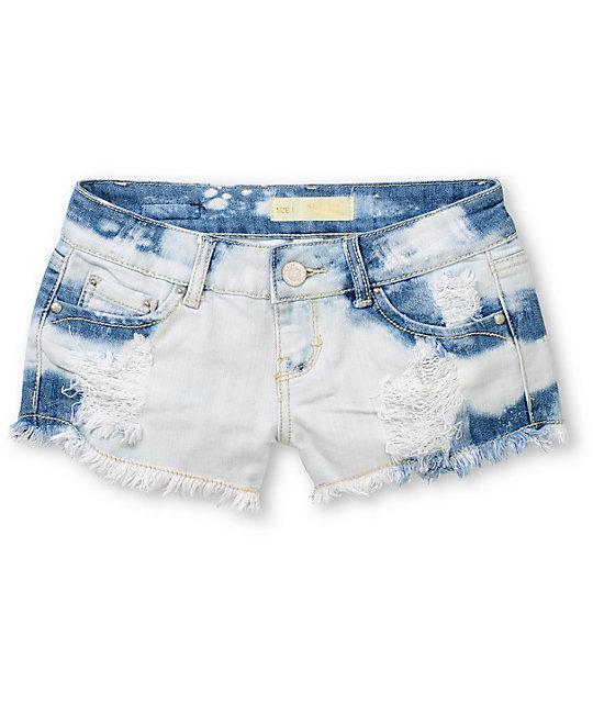 Almost Famous Hazel Novelty White & Blue Denim Shorts