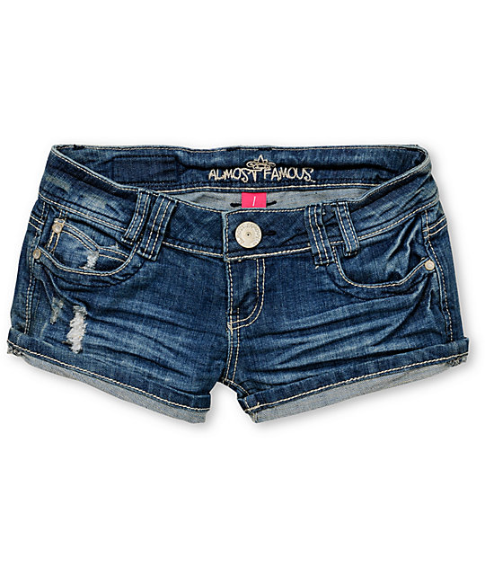 Almost Famous Heather Blue Rolled Cuff Denim Shorts
