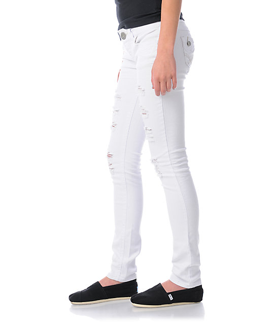 Almost Famous Isabella Distressed White Skinny Jeans