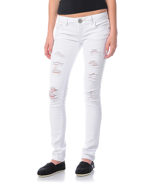 Almost Famous Isabella Distressed White Skinny Jeans at Zumiez : PDP