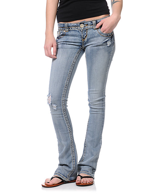 Almost Famous Ivory Medium Blue Wash Bootcut Jeans