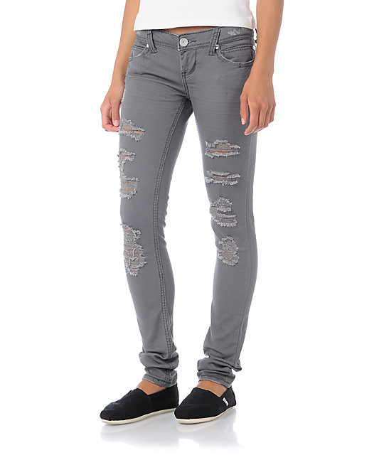 Almost Famous Jana Distressed Steel Grey Skinny Jeans