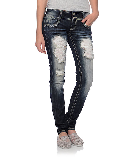 Almost Famous Joe Dark Blue Destructed Skinny Jeans