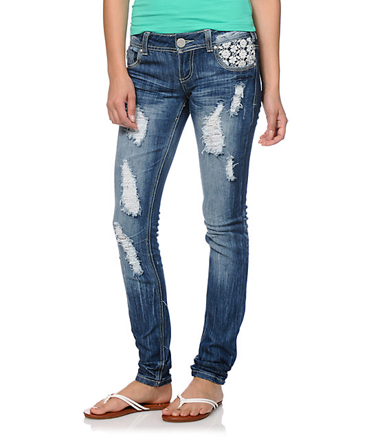 Almost Famous Jonnie Crochet Pocket Skinny Jeans