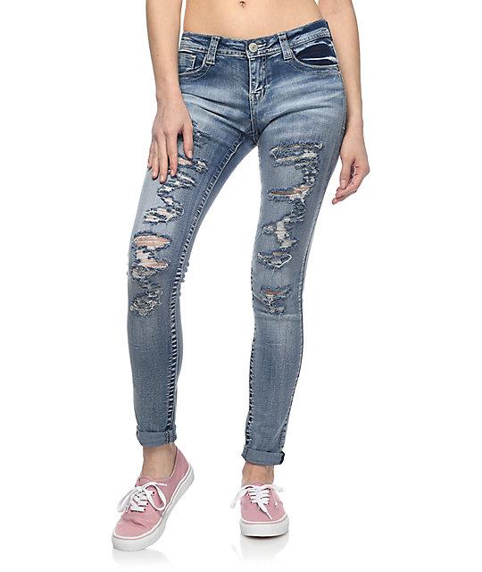 Almost Famous Kara Vintage Wash Destructed Skinny Jeans
