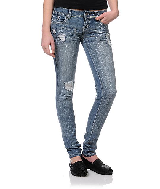 Almost Famous Karen Glitter Leg Skinny Jeans