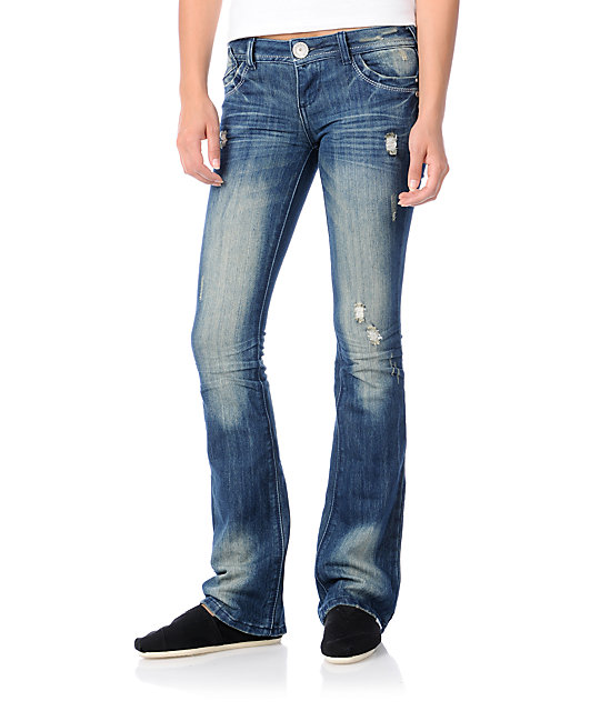 Almost Famous Kathleen Navy Bootcut Jeans