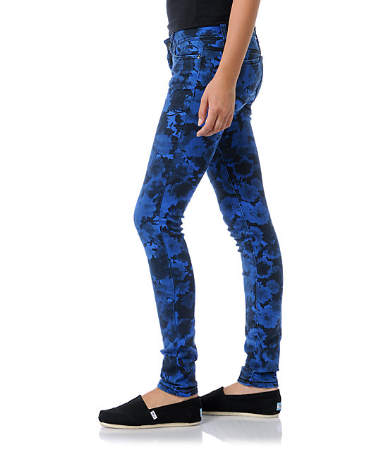 Almost Famous Katie Blue Floral Skinny Jeans