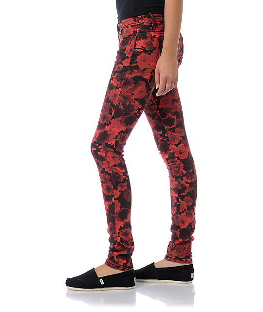 Almost Famous Katie Red Floral Skinny Jeans