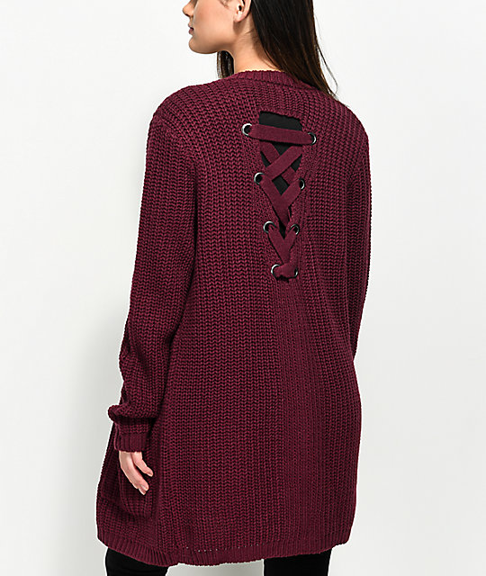 Almost Famous Keli Back Lace Up Burgundy Cardigan