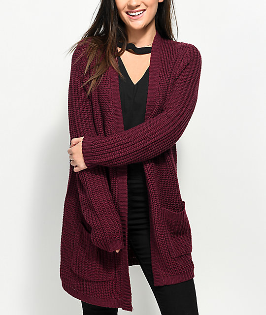 Almost Famous Keli Back Lace Up Burgundy Cardigan | Zumiez