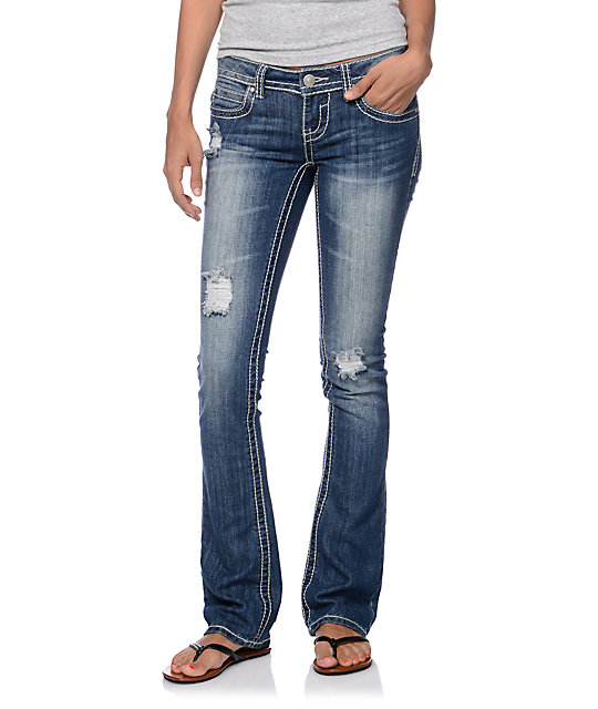Almost Famous Kenya Dark Blue Bootcut Jeans at Zumiez : PDP
