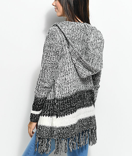 Almost Famous Kenzie Black & White Hooded Fringe Cardigan