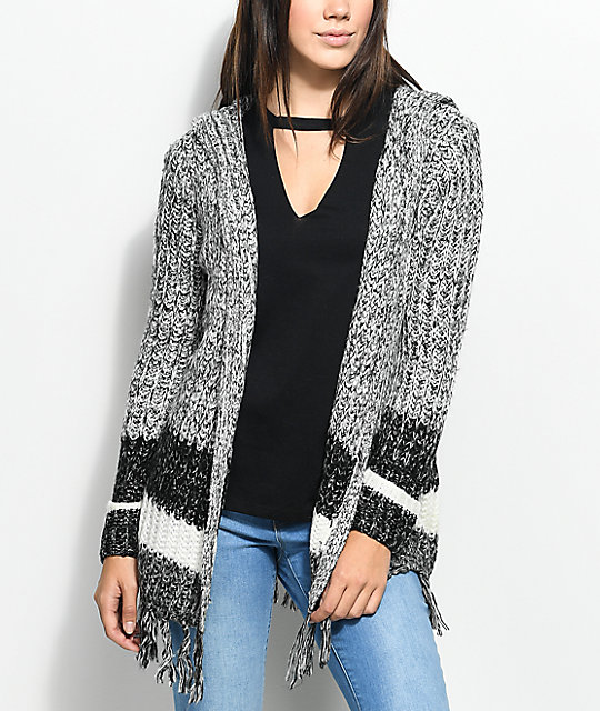 Almost Famous Kenzie Black & White Hooded Fringe Cardigan | Zumiez