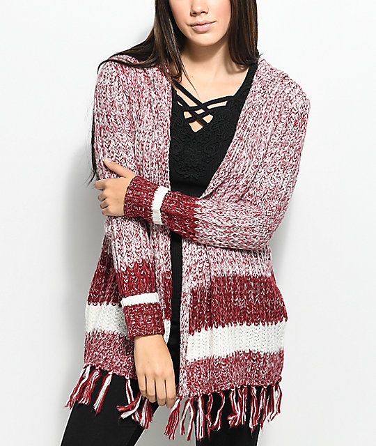 Almost Famous Kenzie Burgundy & White Hooded Fringe Cardigan - Famous Kenzie Burgundy & White Hooded Fringe Cardigan