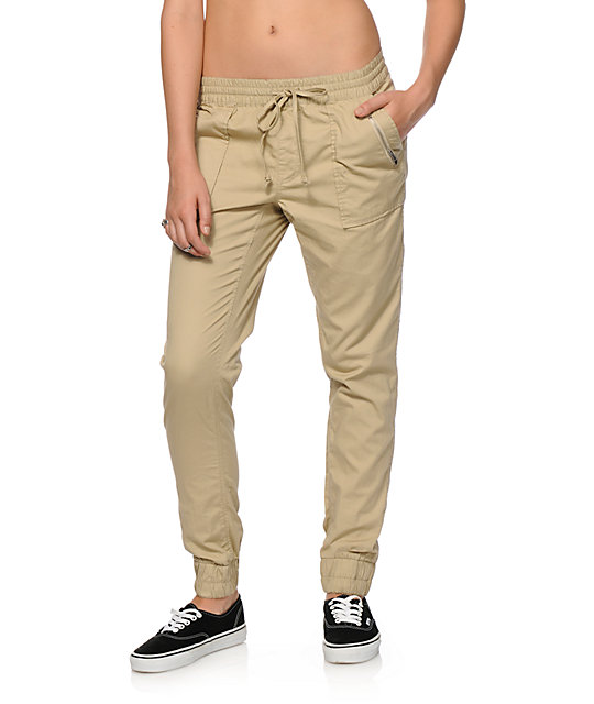 Almost Famous Khaki Twill Jogger Pants at Zumiez : PDP