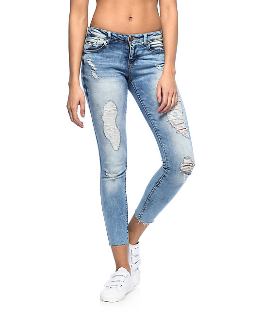 Almost Famous Lia Light Wash Frayed Ankle Destroyed Skinny