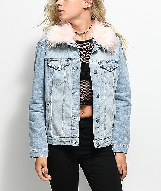 Almost Famous Light Wash & Pink Fur Collar Denim Jacket | Zumiez