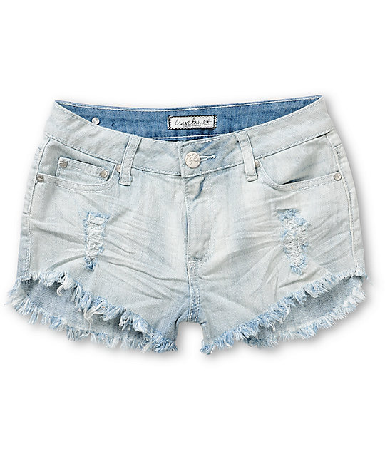 Famous Light Wash Destroyed Denim Shorts