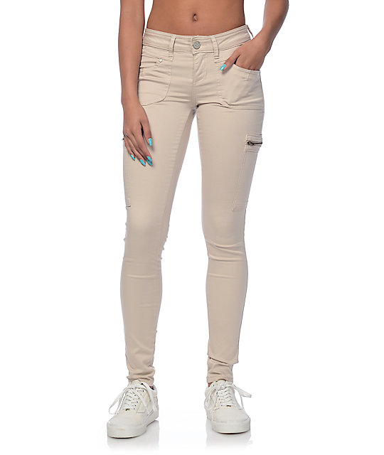 Almost Famous Liz Khaki Cargo Zipper Pocket Skinny Pants at Zumiez ...