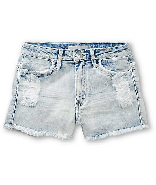 Famous Lucy Light Wash High Waisted Denim Shorts