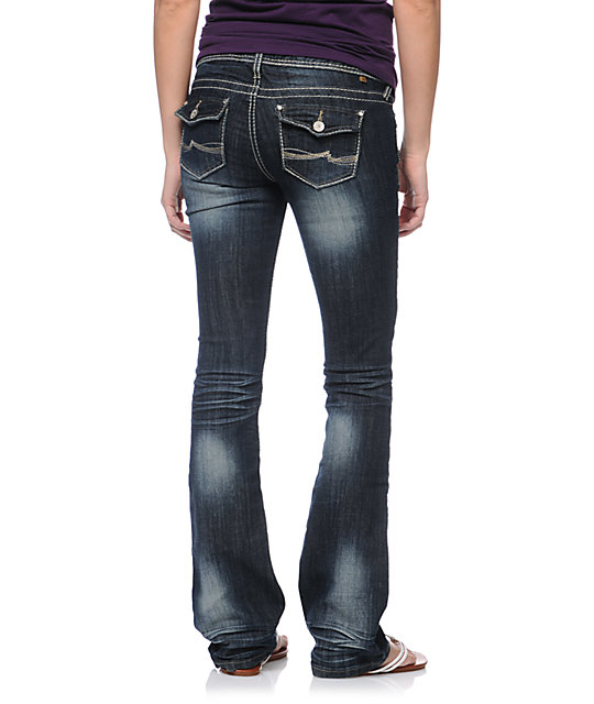 Almost Famous Macy Dark Indigo Bootcut Jeans