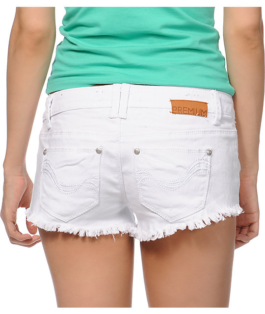 Almost Famous Maggi White Cut Off Shorts