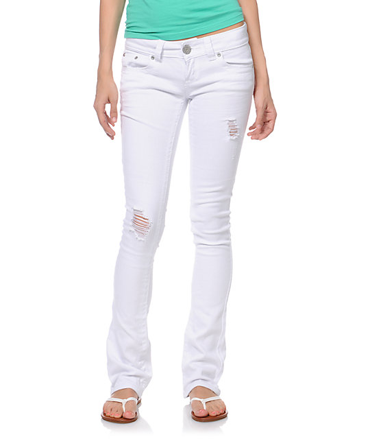 Almost Famous Maggie White Wash Bootcut Skinny Jeans