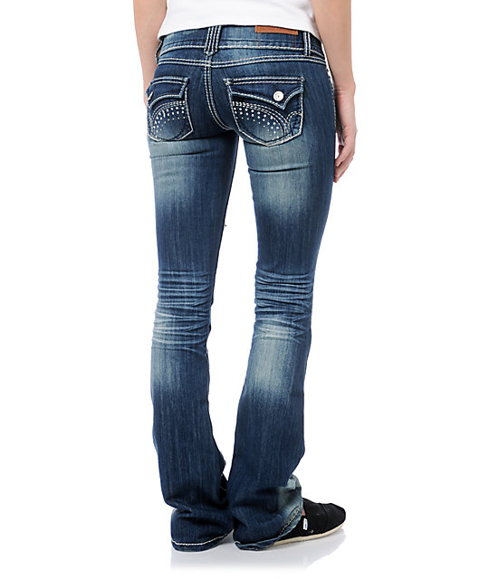 Almost Famous Malorie Medium Blue Ripped Bootcut Jeans
