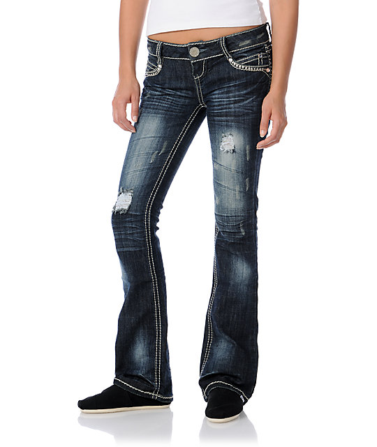 Almost Famous Marylyn Distressed Rhinestone Bootcut Jeans