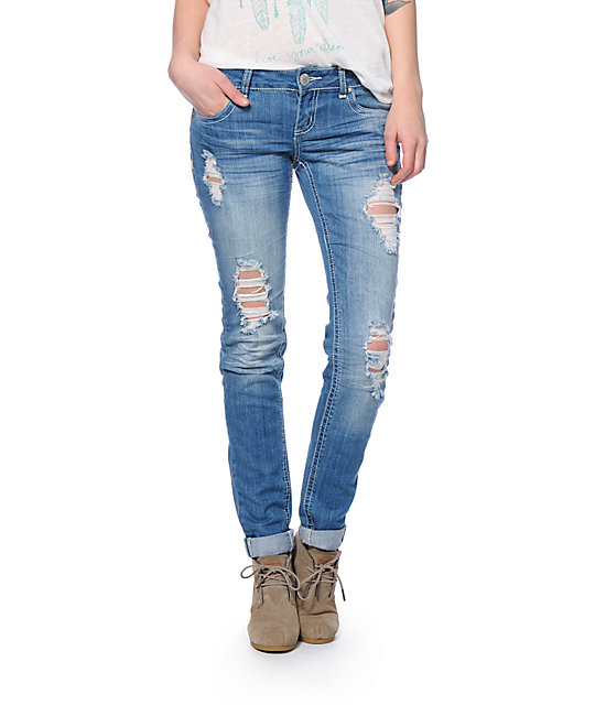 Famous Medium Wash Destroyed Skinny Jeans