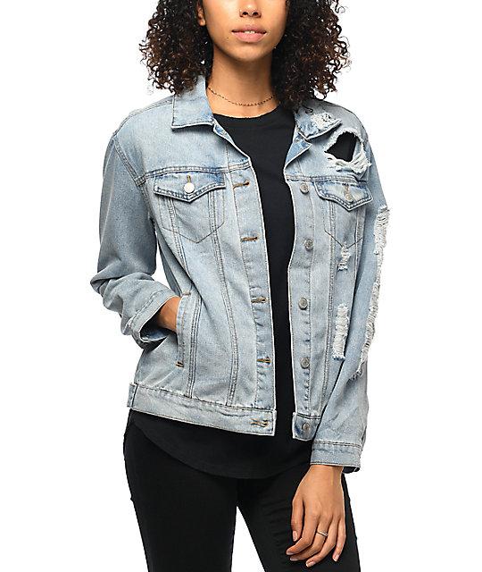 Almost Famous Medium Wash Shredded Denim Boyfriend Jacket