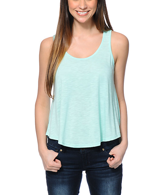 Almost Famous Mint Crochet Back Tank Top