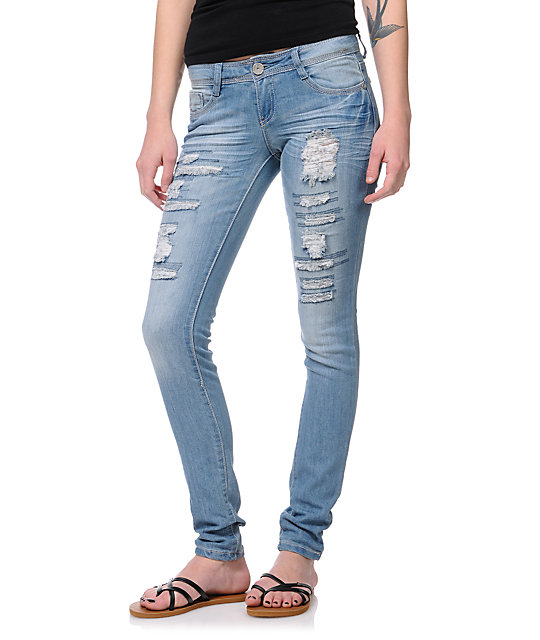 Almost Famous Monica Destructed Medium Wash Skinny Jeans
