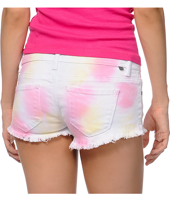 Almost Famous Nora White Tie Dye Cut Off Shorts