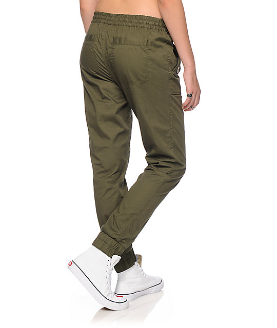 Almost Famous Olive Twill Jogger Pants